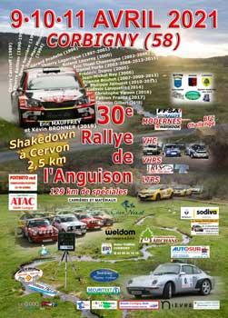 Affiche et Lien vers le 30e Rallye de l'Anguison (09, 10 et 11 avril 2021)